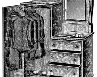 Victorian clipart wardrobe 2 1 Wardrobe Gentlemens Vintage