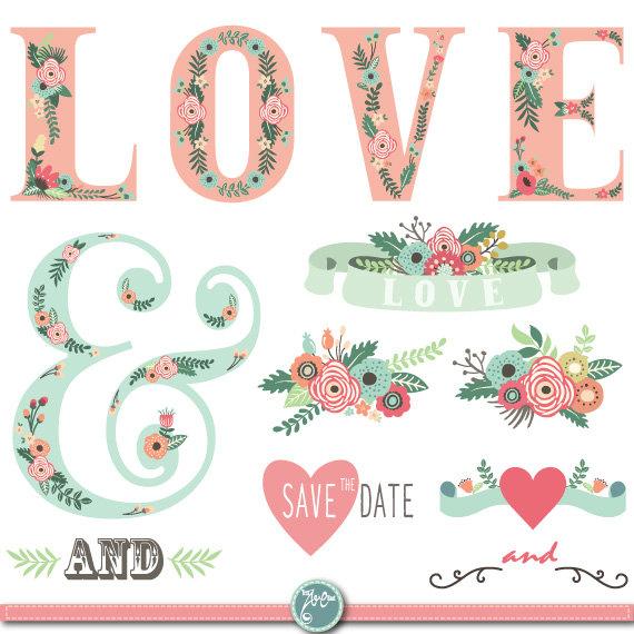 Vintage Flower clipart wedding floral Invitation art pack embellishments FLORAL