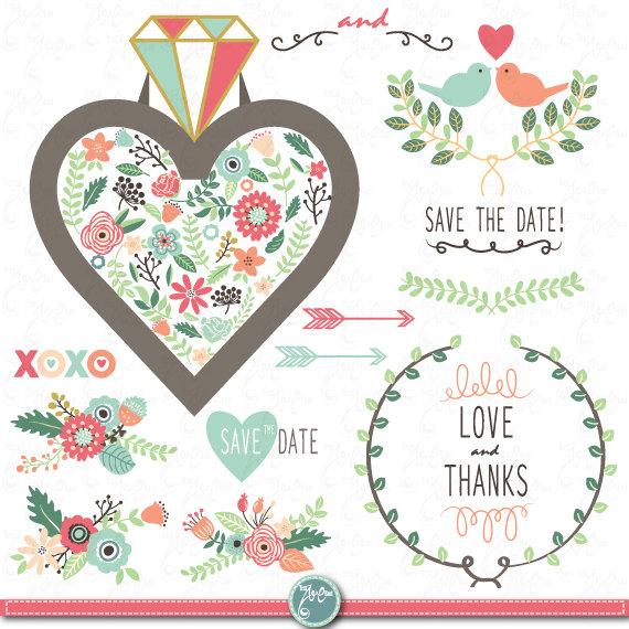 Vintage Flower clipart vintage love Wedding pack Clipart art
