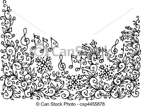 Vignette clipart black and white Vector of 35 Refined Musical