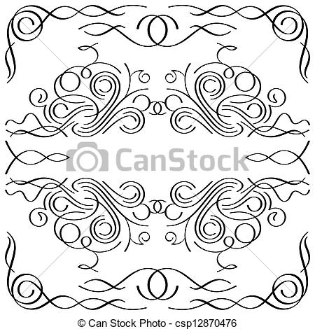 Vignette clipart calligraphy Vector Illustration vignette calligraphic Vectors