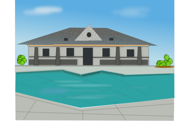 Villa clipart city house Clker image this at Poolside