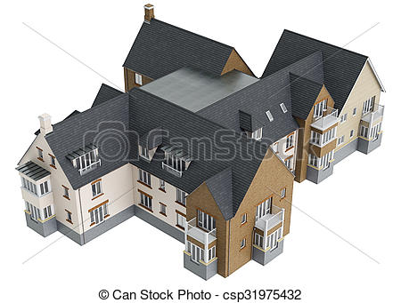 Villa clipart hause House 3D with view villa