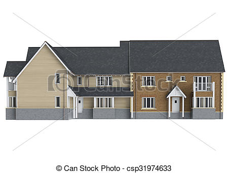 Villa clipart large house Front view of view storey