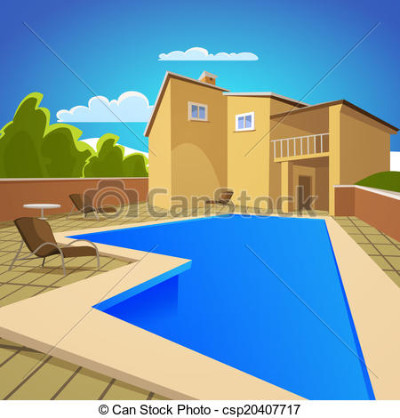 Hosue clipart pool Swimming Illustration With of Art