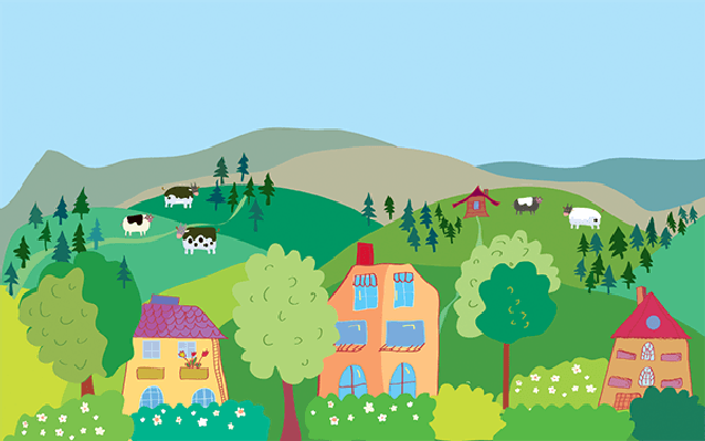 Changing To Night  clipart rural Clip Free Clipart Villages Clipart