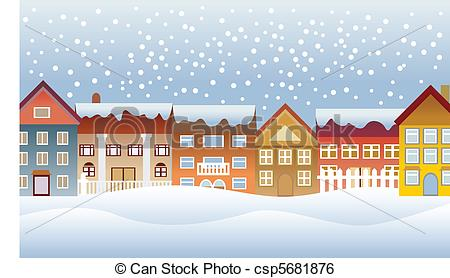Winter clipart neighborhood Town of snow down