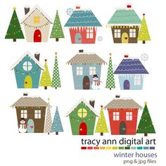 Village clipart Art Art Clipart Houses Winter