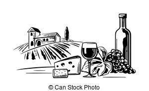 Vineyard clipart black and white Vintage villa landscape of vector