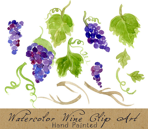 Vineyard clipart english  Foliage Grapes Digital Clipart