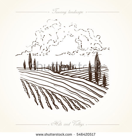 Vineyard clipart hand drawn Drawn hills  rural gardens