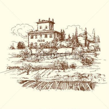 Vineyard clipart hand drawn Art Clip Italian Wine