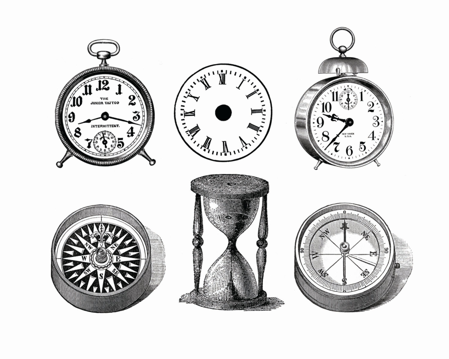Engraving clipart clock Victorian clipart free image vintage