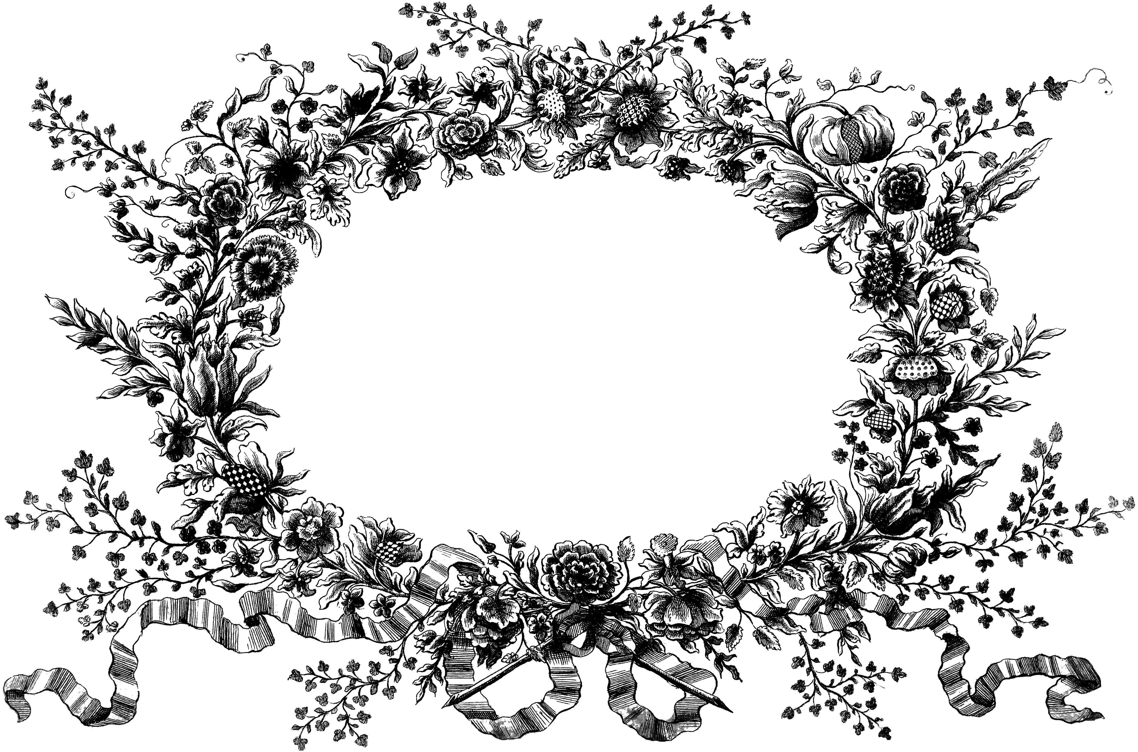 Vintage Flower clipart vintage line 2 to download images art