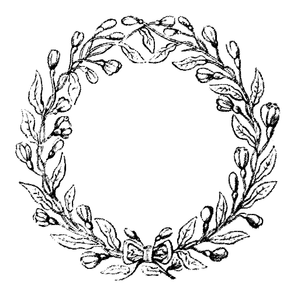 Wreath clipart old pen Vintage Christmas Vintage Garland christmas