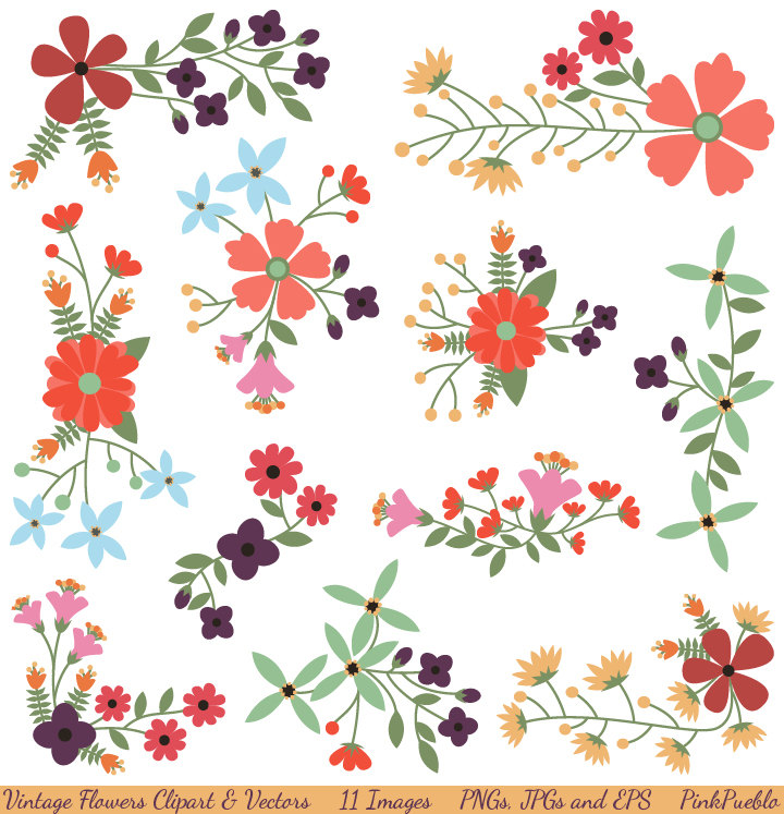 Line clipart floral Vintage Clip Flower Commercial Vectors