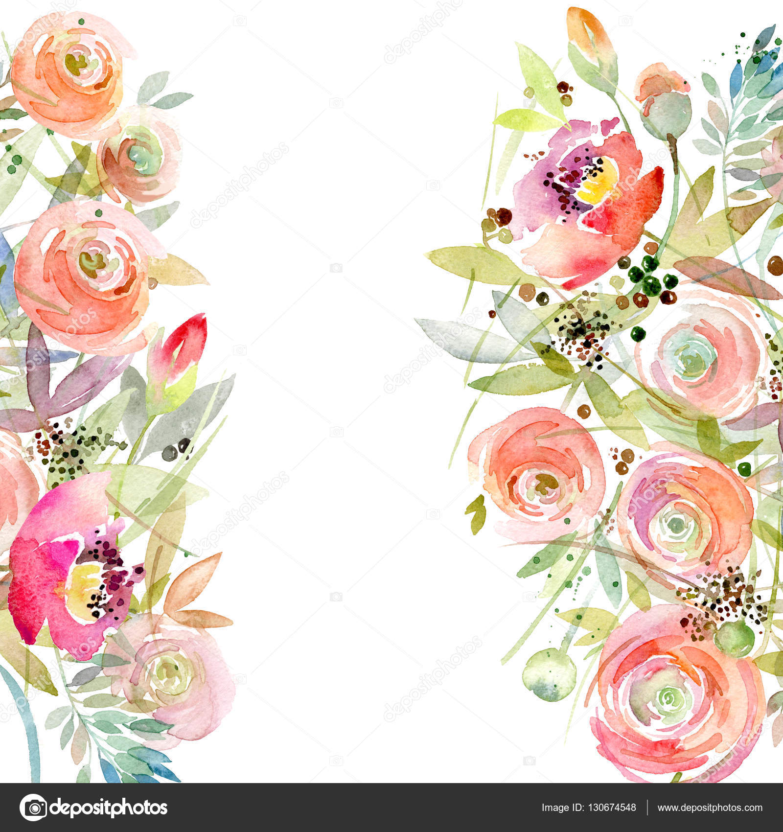 Vintage Flower clipart background Flower greeting Photo card Watercolor