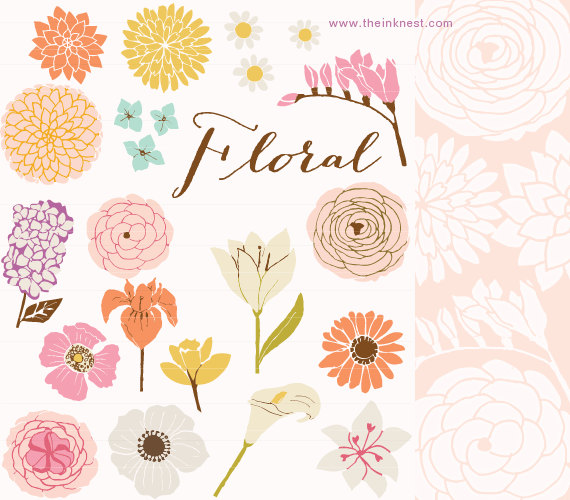 Vintage Flower clipart brush Use and for Brushes and