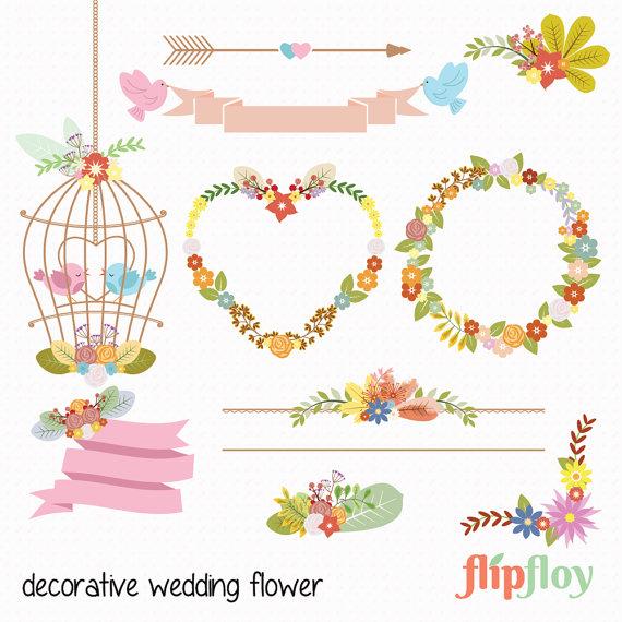 Vintage Flower clipart brush Style Wedding Download Instant Flower