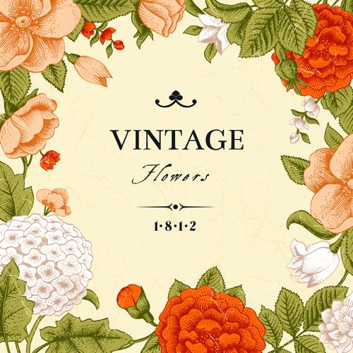 Vintage Flower clipart colored Flower color  design art