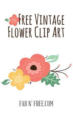 Vintage Flower clipart colored Vintage