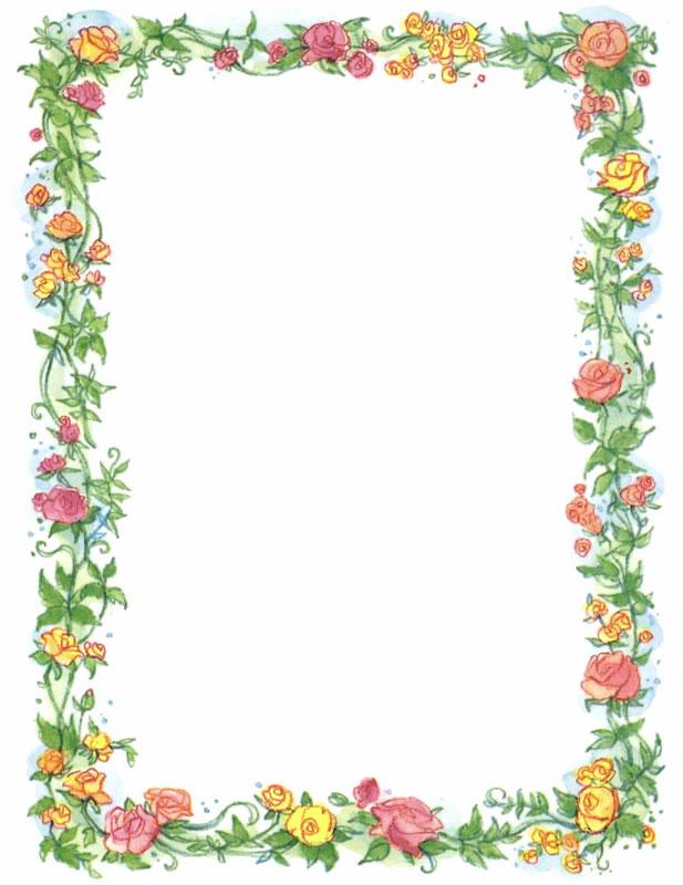 Vintage Flower clipart colored Clip Vintage Border Vintage Art