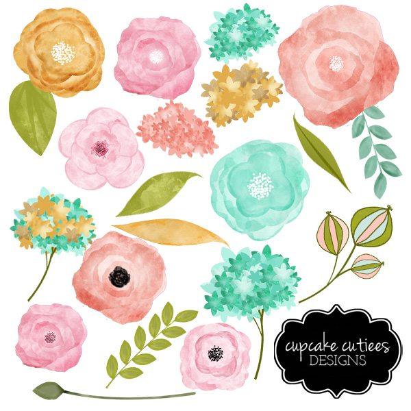 Vintage Flower clipart colored · art  Watercolor vintage