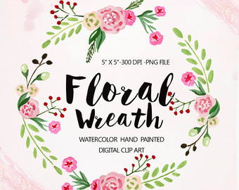 Vintage Flower clipart floral garland Wedding flowers Wreath clipart Watercolor