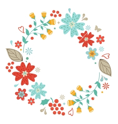 Vintage Flower clipart floral garland By Olillia vector by Floral