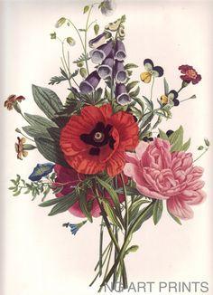 Vintage Flower clipart flower bunch Botanical gorgeous Art: prints Art