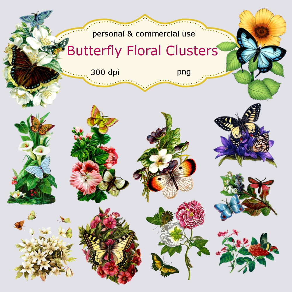 Vintage Flower clipart flower cluster Digital Vintage Clip Clusters Digital