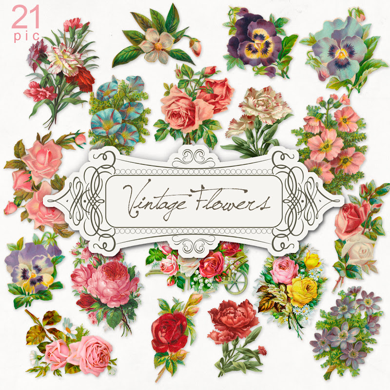 Vintage Flower clipart flower cluster Kit:Far Flowers Free digital Hill