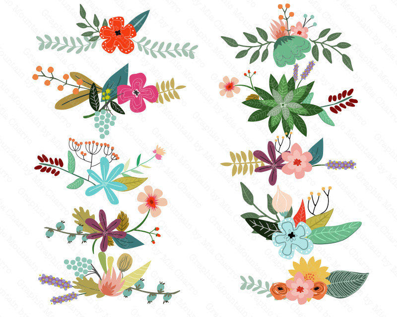 Vintage Flower clipart flower cluster Clip Flowers Set  Digital