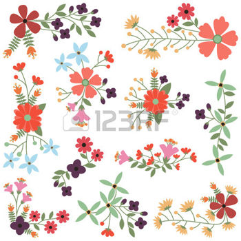 Vintage Flower clipart flower cluster Style flower: Illustration Set Vintage