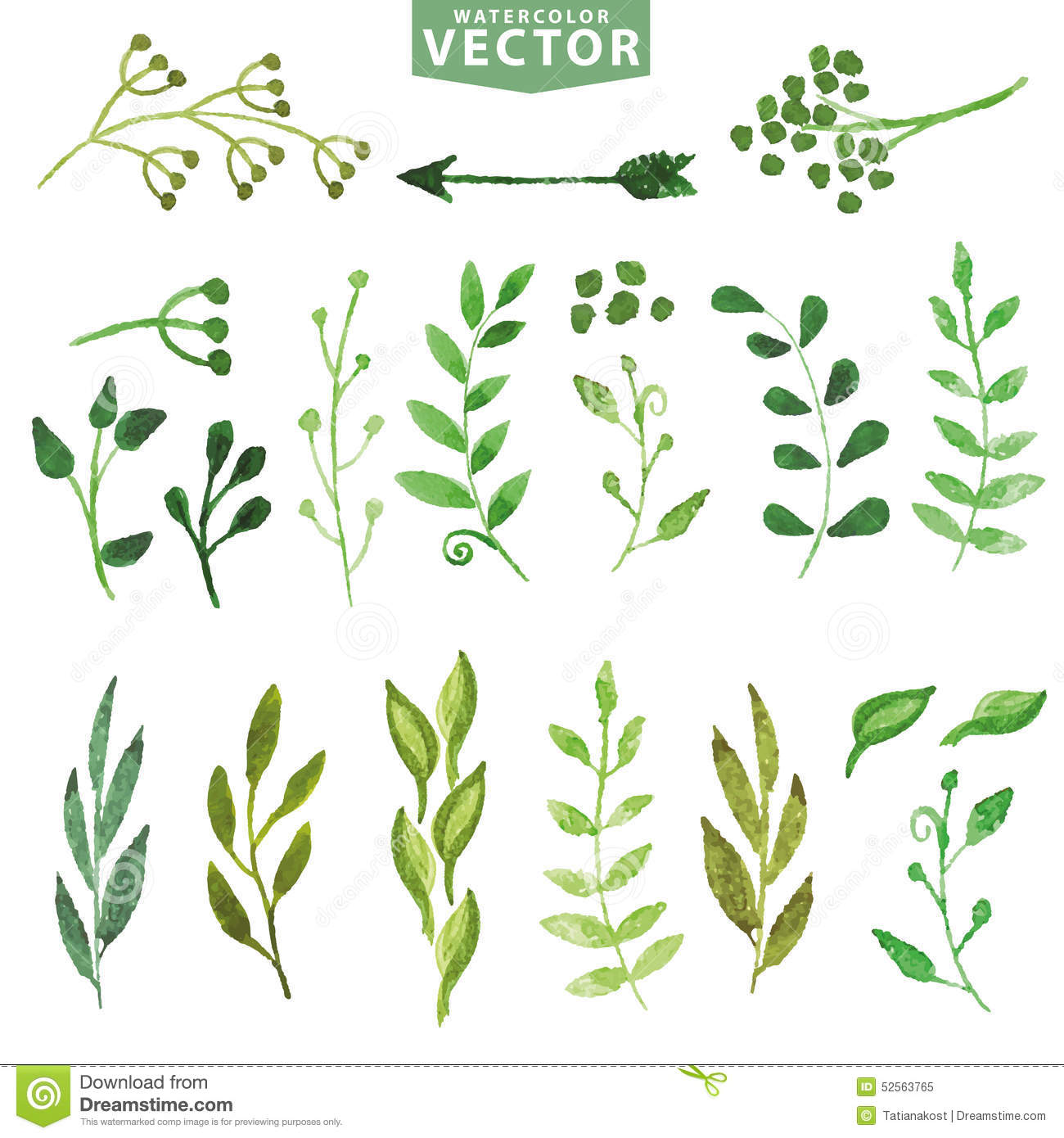 Branch clipart watercolor Green branches floral hand floral