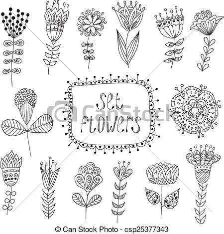 Drawn vintage flower Flowers Vector Drawn elements Flowers
