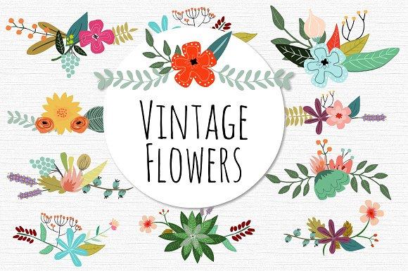 Vintage Flower clipart illustration On Illustrations Vector Flowers Creative