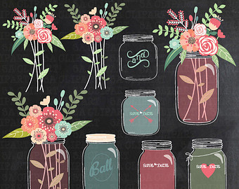 Vintage Flower clipart mason jar drawing Draw MASON Flora JAR