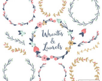 Vectors in Wreaths Floral Navy