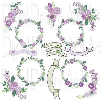 Vintage Flower clipart purple On digital art Flower clipart