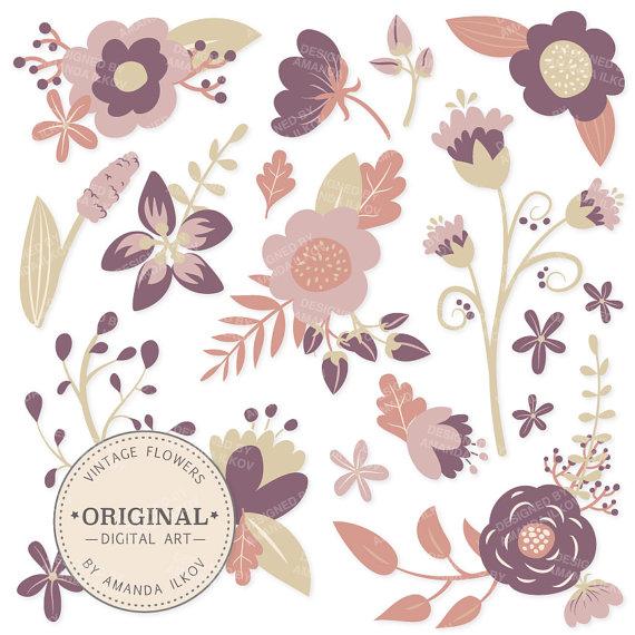 Vintage Flower clipart purple Floral Vector Clipart Flowers
