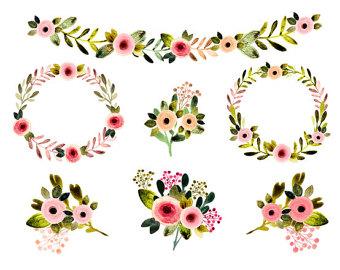 Vintage Flower clipart rustic flower Flowers watercolor spring floral rustic
