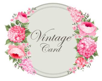Vintage Flower clipart rustic flower Frame Watercolor  Flowers Clipart