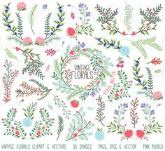 Vintage Flower clipart rustic flower Chalkboard Floral clipart Clipart wedding