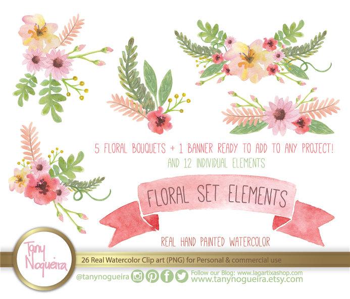 Vintage Flower clipart rustic flower Watercolor Floral Clipart Wedding Elements