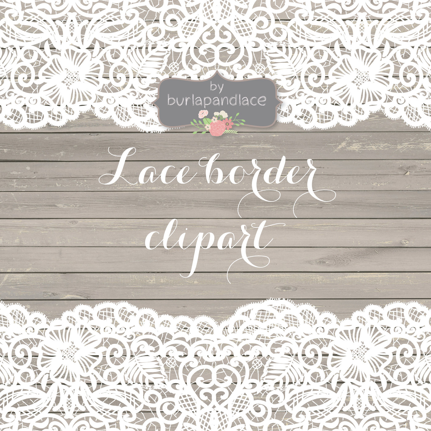 Vintage Flower clipart rustic frame Border chic rustic Lace lace
