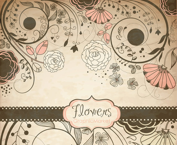 Vintage Flower clipart small flower Black&white Personal Commercial invitation Clip