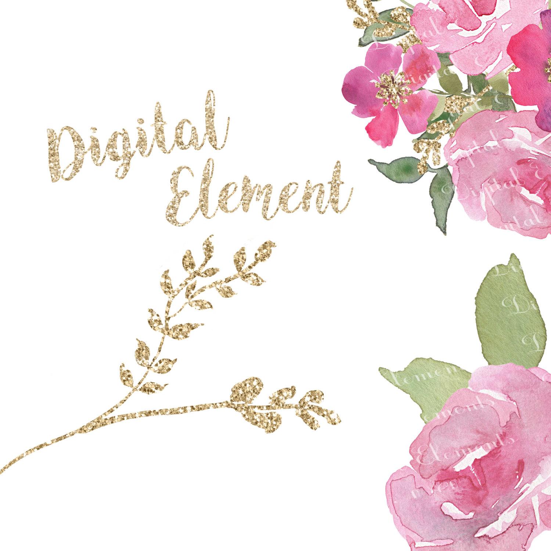 Pink Rose clipart glitter Watercolor Vintage Flower Floral file
