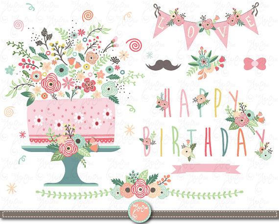 Vintage Flower clipart vintage birthday #5