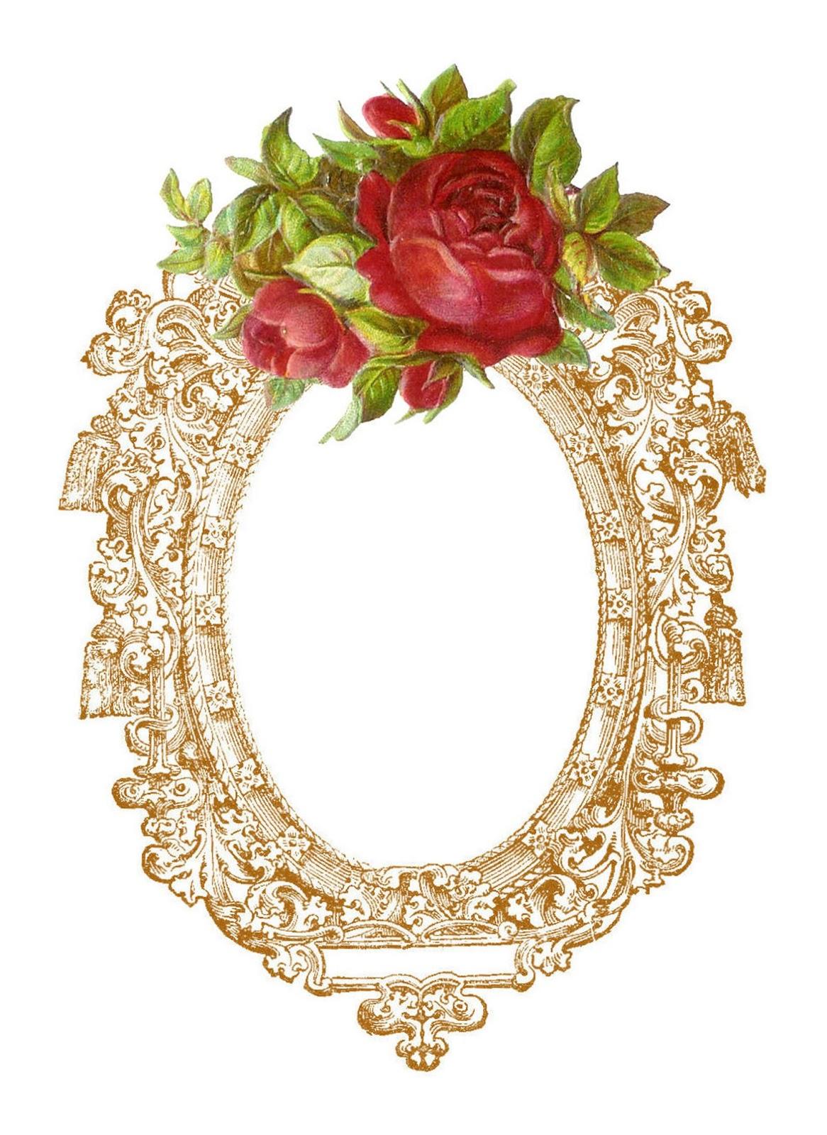 Vintage Flower clipart vintage love Clip Images: Free Digital Red